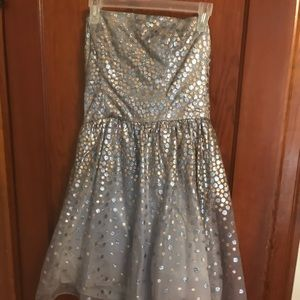 Taffeta and lace silver and gold party dress